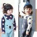 Новая мода детские Детская одежда Горошек Блузка Топы Футболки Хлопок Тис С Длинным Рукавом Бесплатная Доставка