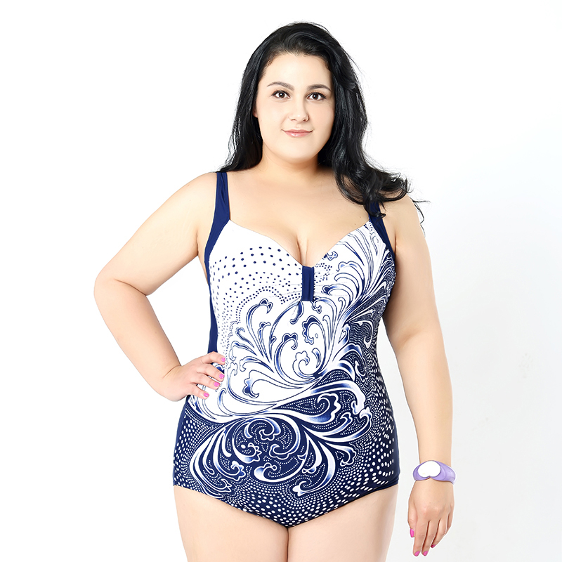 Plus Size Swimwear Women 2018 One-Piece Swimsuit Large Size One-piece Suits Super Female Beach Wear Bathing Suit Maillot bathers one piece suit zipper swimwear female one piece swimsuit solid plus size sport bathing suit clothes swimming suit women