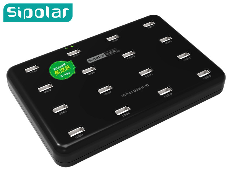 USB 2.0 HUB support double DC power adapter,16 port usb hub