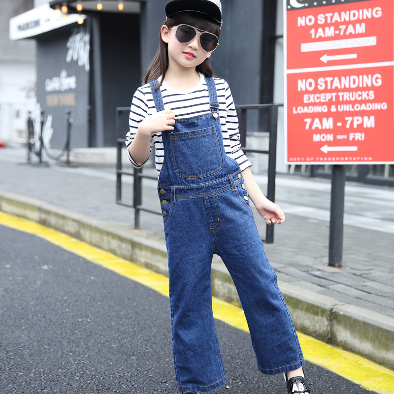 все цены на Girls Wide Leg Denim Overalls Children Clothing Spring 2017 Girls Denim Jumpsuit Fashion Teenage Kids Pants For Girl Top Quality