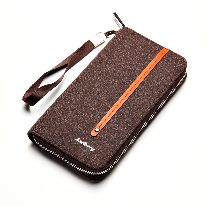 vintage striped embossed canvas Men long Wallet denim leather Male Coin Purse student High Capacity Clutch wallet Wrist Strap long wallet mobile phone canvas bag leather vintage old denim handbag and girlfriend gift