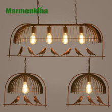 Lustre para iluminação interna, lustre retrô com varanda de pássaro, restaurante, café, bar, mesa de estudo, pássaro.