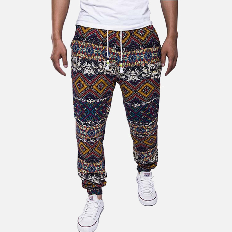 Hawaiian Men's Floral Print Cotton Linen Long Harem Pants Blue Drawstrings Pockets Man Trousers Summer Streetwear Joggers Male