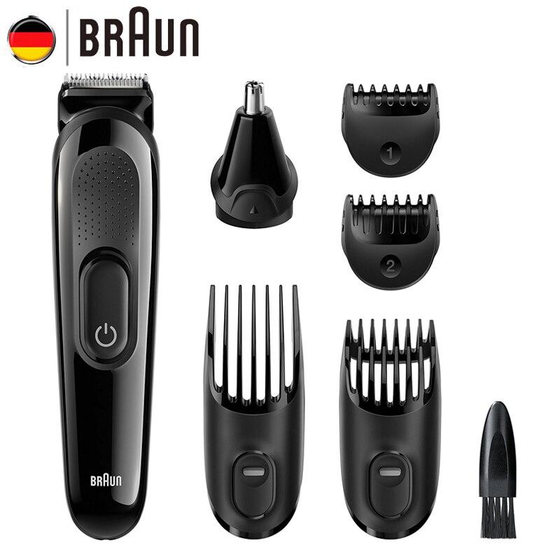 Braun Hommes de Barbe Cheveux Tondeuse MGK3020 6 dans 1 Multi Toilettage Kit Électrique Rasoir Cheveux Oreille Nez Tête Coupe 4 peignes 13 Longueur