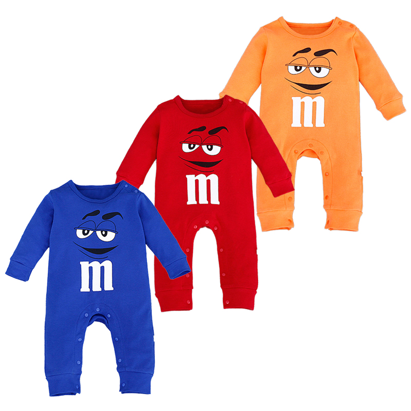 Newborn Baby Boys Girls Rompers New Brand Cute Infant M Chocolate Beans Playsuit Cotton Long Sleeve Bebe Jumpsuit Clothing cotton cute red lips print newborn infant baby boys clothing spring long sleeve romper jumpsuit baby rompers clothes outfits set