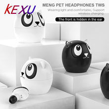 KEXU New Cute pet cartoon TWS True Wireless Bluetooth Earphone Hi-Fi Stereo Sound Sport Earbuds + Charging Box for iphone(China)