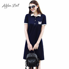 Alglam Doll Casual Pocket Cat Print Dress Loose Polo Neck Women Ladies Vestido Cute Preppy Style Solid Brief Mini Leisure Dress