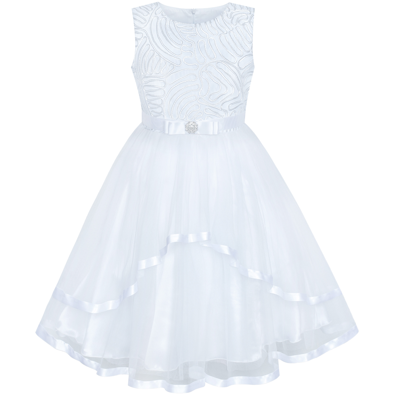 Flower Girl Dress White Wedding Party Dress Bridesmaid Summer Princess Dresses for Girls Clothes 4 12 Pageant Sundress