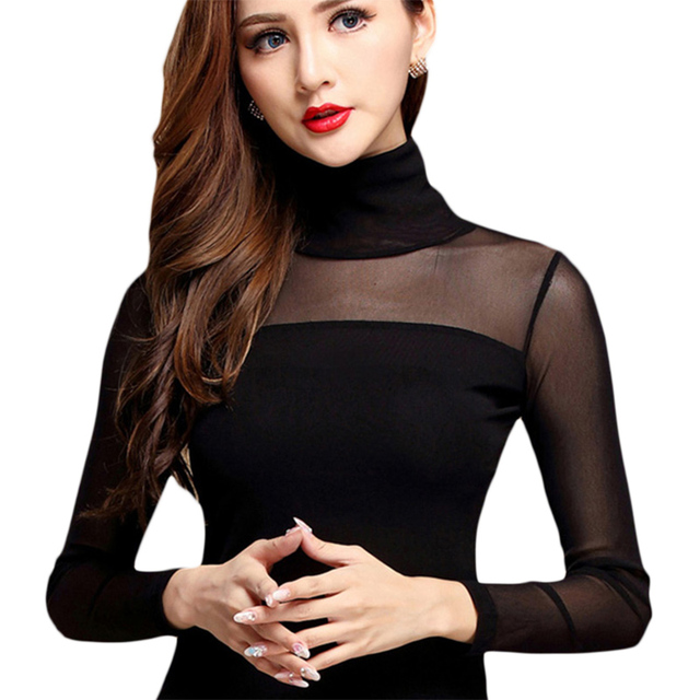 Women Sexy Blouse Shirt For Work Fashion Casual Long Sleeve Lace Tops Sexy Hollow Woman Tops Autumn Mesh Shirts White Black