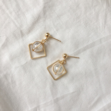 Fashion Simple Round Glass Ball Temperament Square Metal Geometric Earrings For Women Accessories Female Models