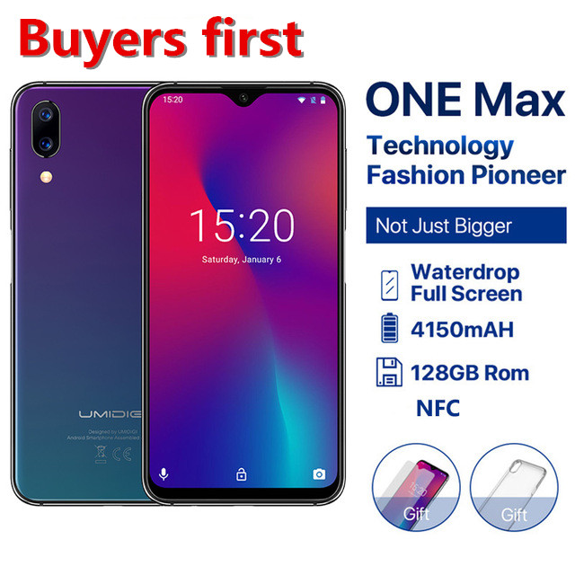 UMIDIGI One Max 4GB 128GB Android 8.1 Helio P23 Octa Core Mobile Phone 6.3''FHD Face ID Wireless Charge NFC 4G 12.0MP Smartphone