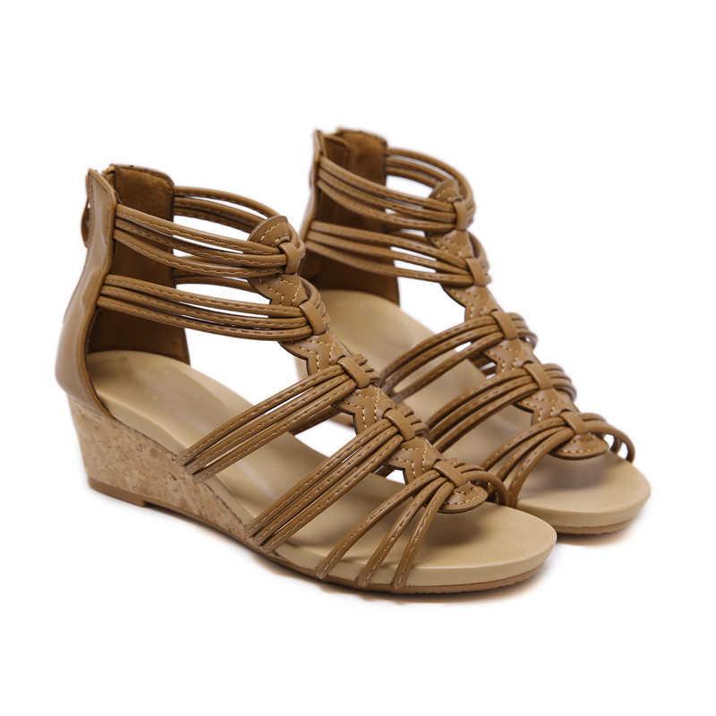 """XJRHXJR גדול גודל 35-42 אופנה סנדלי נשים zip קיץ נעלי אישה מזדמן נוח 5 ס""""מ טריזי נעלי 2019 חדש נשי נעליים"""