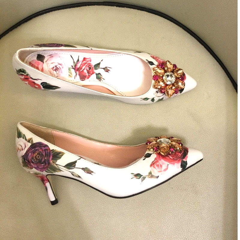 Macytino Elegent Women Pumps Flower Printed High Heel Shoes 6CM 10CM Red Diamond Sequined Wedding Pumps fashionable small red flower pattern 6cm width tie for men