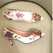 Macytino Elegent Women Pumps Flower Printed High Heel Shoes 6CM 10CM Red Diamond Sequined Wedding