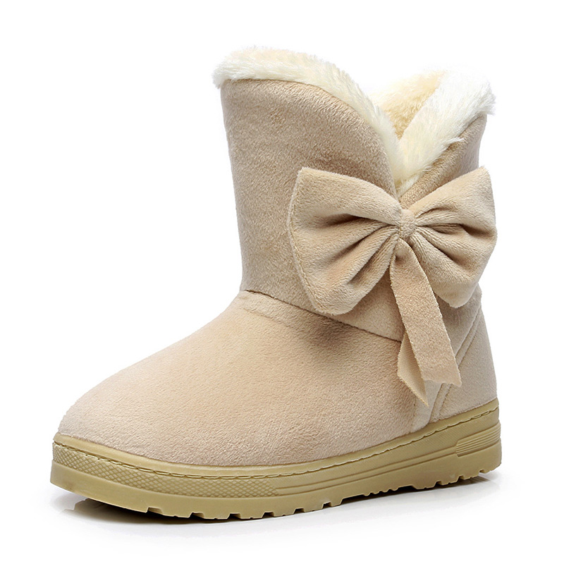 Female Boots Warmer Plush Bowtie Fur Suede Rubber Flat Slip On Winter Ankle Snow Boots Women's Fashion Platform Black Shoes fashion women ankle boots suede tassels snow boots female warm plush bowtie fur rubber flat silp on platform black shoes casual