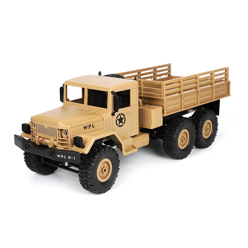 2018 New WPL B-16 1/16 2.4G 4WD Off-Road RC Military Truck Rock Crawler Army Car yellow