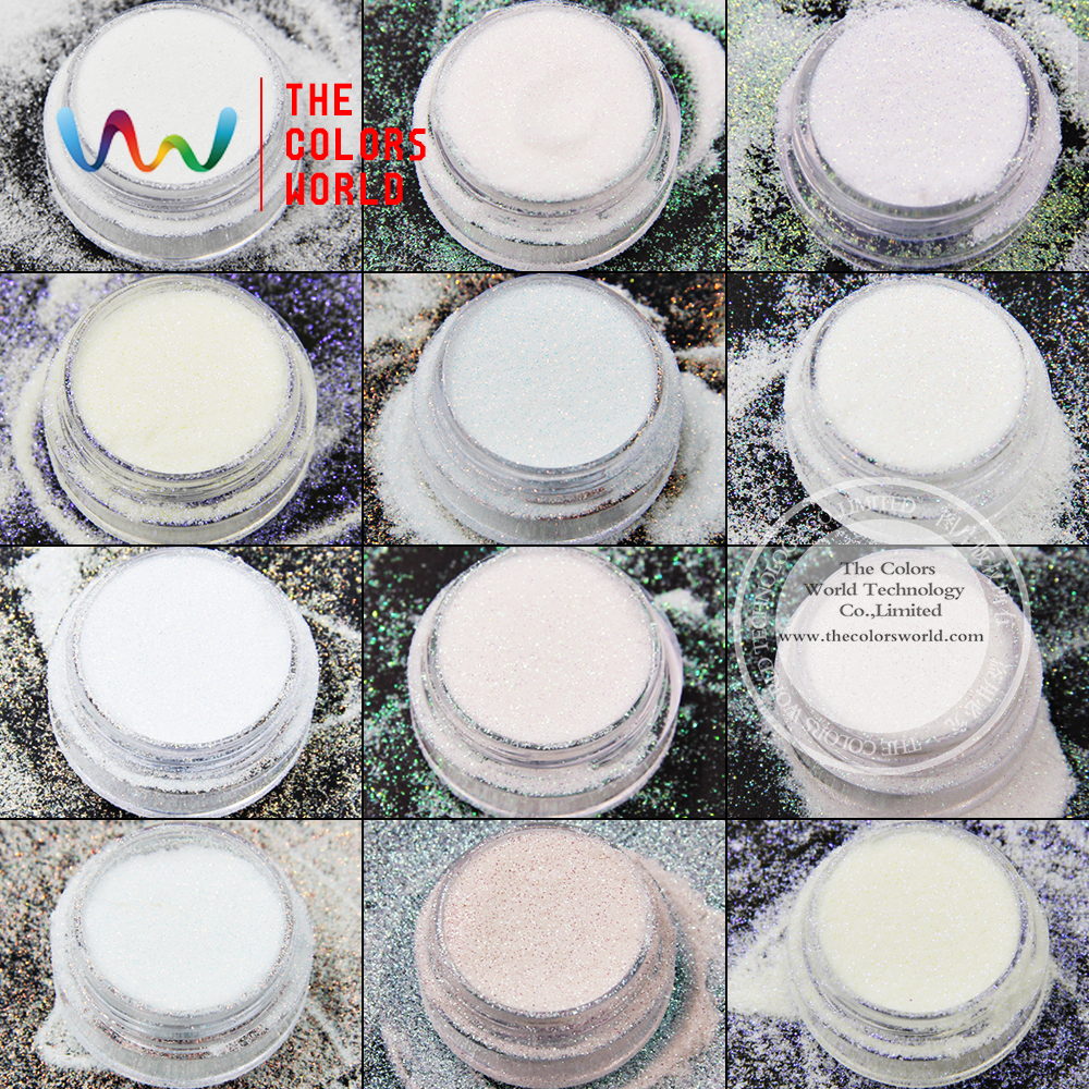 TCT-010 Iridescent Rainbow White With Multiple Colors Hexagon Shape 0.1 MMsizes Glitter For Nail Art  Nail Gel,makeup And DIY