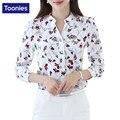 Blusas Camisa de Manga Longa das Mulheres Doces Senhoras das mulheres Chiffon Camisas Femininas Com Floral Impresso Nova Primavera Maré Outono coreano