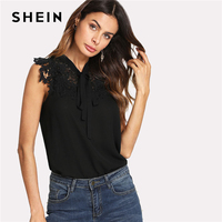 SHEIN Guipure Lace Applique Tied Neck Bow Top Black Stand Collar Sleeveless Plain Blouse 2018 Summer