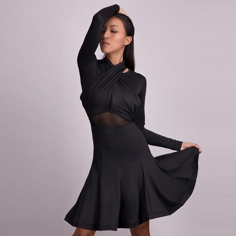 Classic Black Latin Dress Women Long Sleeve Milk Fiber Cha Cha Tango Salsa Samba Rumba Performance
