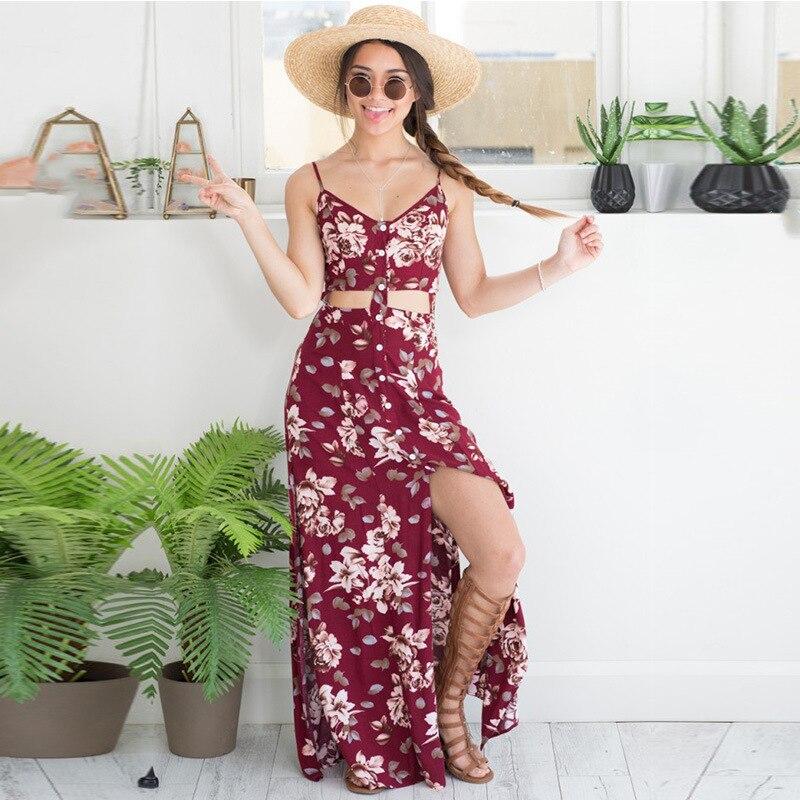 2016 Women Long Summer Maxi Dress Strap Floral Print Two Piece Bohemian  Dress Bodycon Party Beach Dress Sexy Club Vestidos f329a38c133f