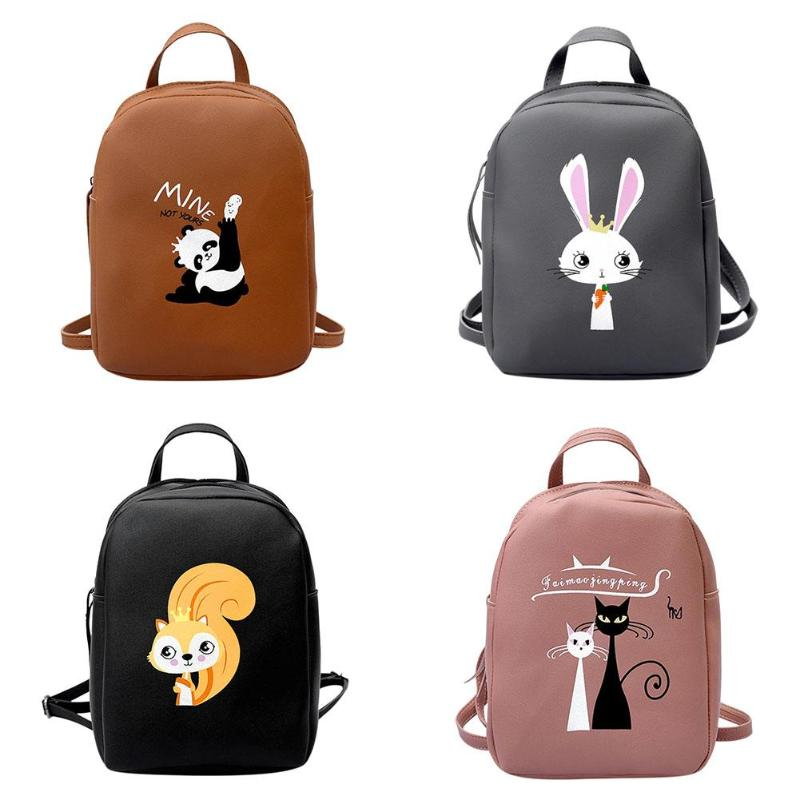 Cartoon Animal Print Mini Backpack Women PU Leather Travel Girl School Bags women forest deer animal print studded black leather school backpack travel daypack bag