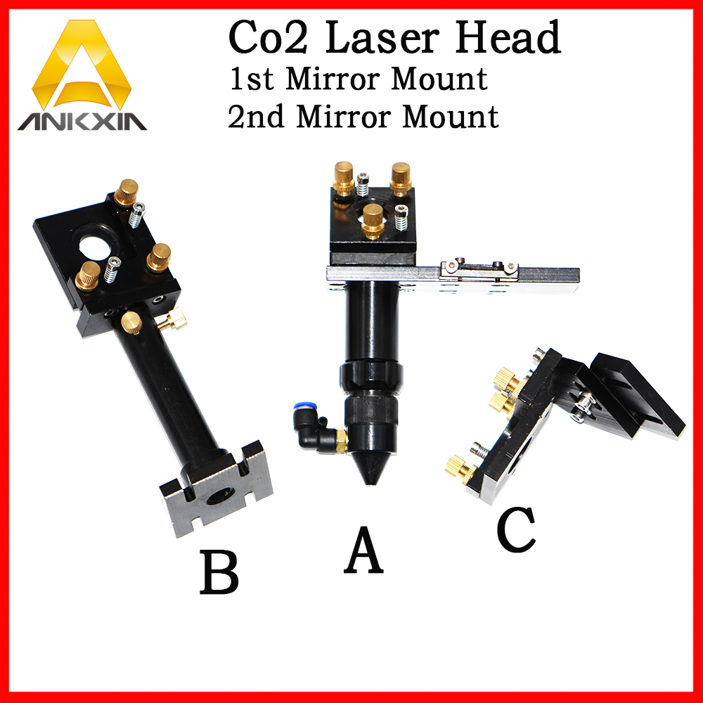 CO2 Laser Head Set / Reflective Mirror and Focus Lens Integrative Mount Holder For Laser Engraving Machine Mechanical Parts the rail of laser machine 1490 include belt bear wheel motor motor holder mirror holder tube holder laser head etc