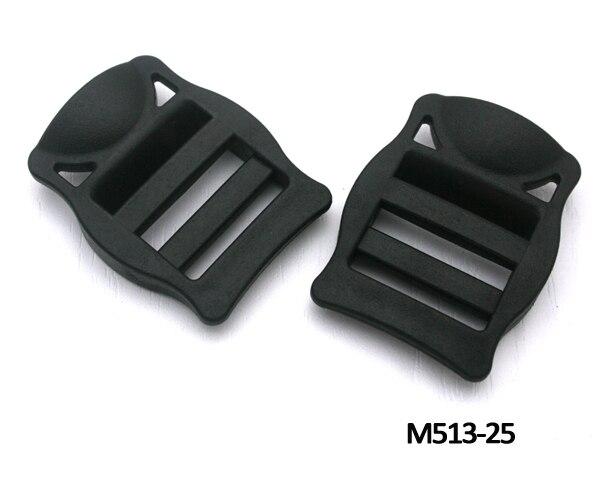 DIY 50pcs 25mm 1 inch black plastic adjustable buckles Tri Glide slider buckles for backpack straps webbing M513-25