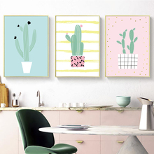 Fresh Plant Green Yellow Pink Cactus A2 A3 A4 Canvas Painting Art Abstract Print Poster Picture Wall Living Room Home Decoration