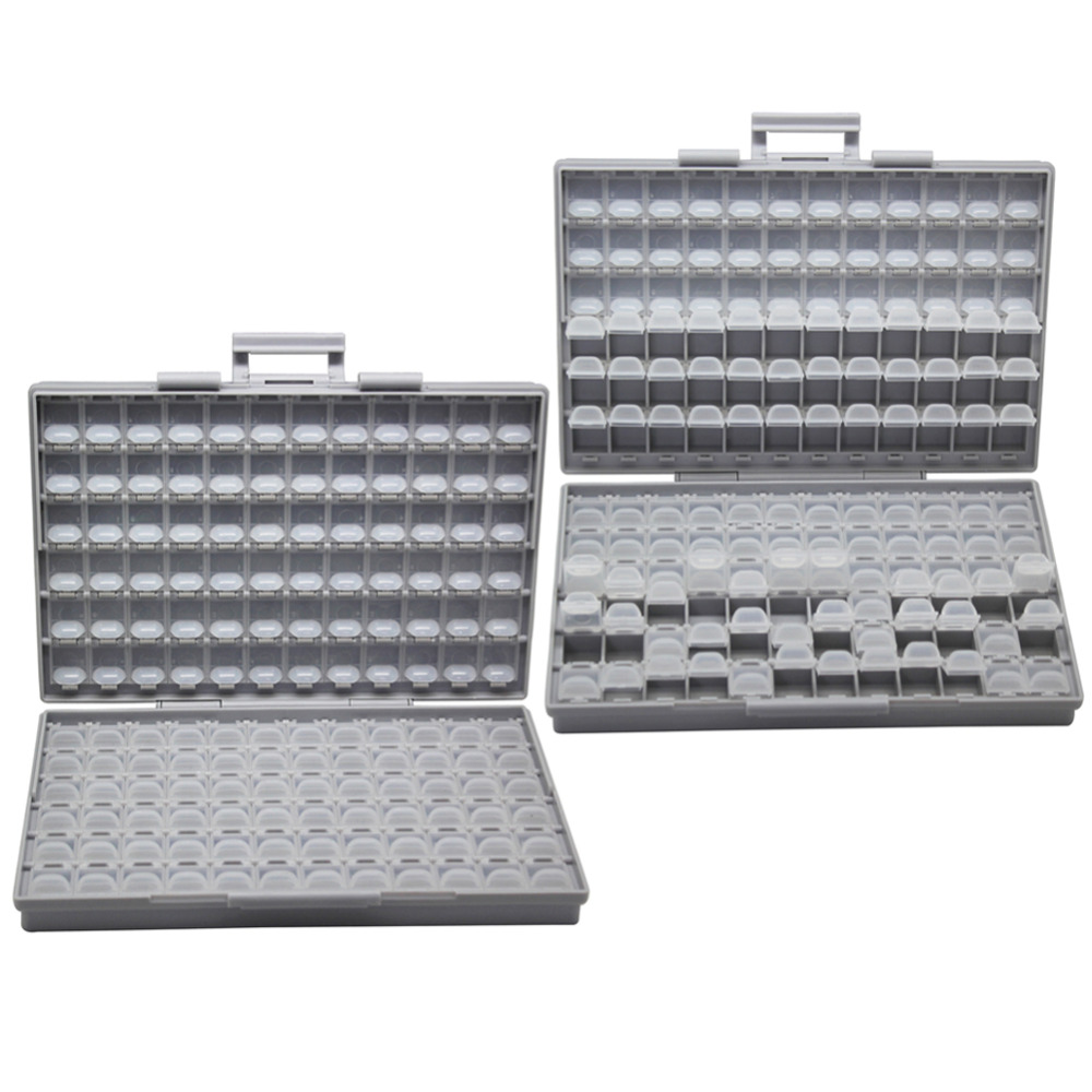 AideTek  2 Units Of Resistor Capacitor Electronics SMD Storage Cases & Organize  0603 0402 0805 1206 Plastics Toolbox 2BOXALL