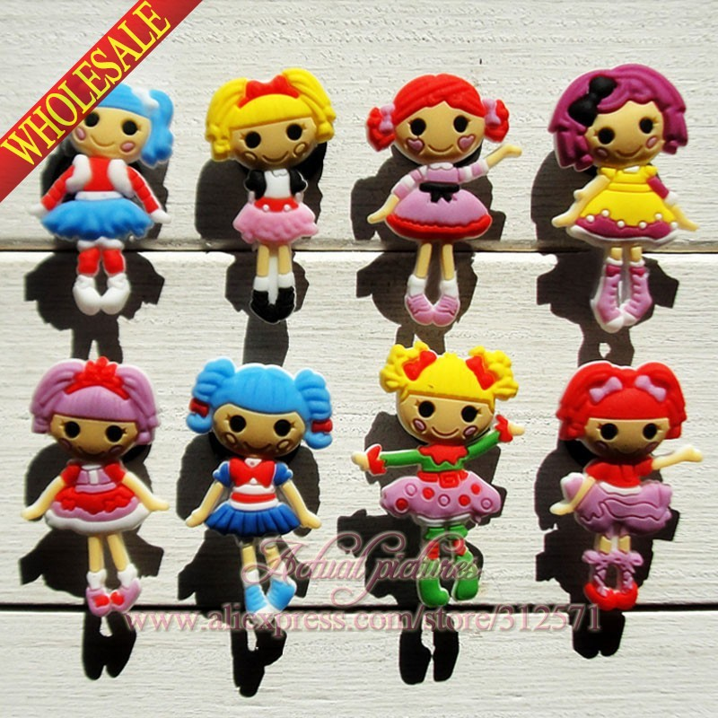 Free shipping 40Pcs Lalaloopsy PVC shoe accessories/shoe charms For Silicone Wristbands&shoes with holes,shoe buckle for kids free shipping new 100pcs avengers pvc shoe charms shoe accessories shoe buckle for wristbands bands