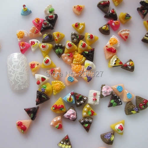 #1 30pcs Cute Mix Sandwich Shape Nail Resin Decoration Outlooking