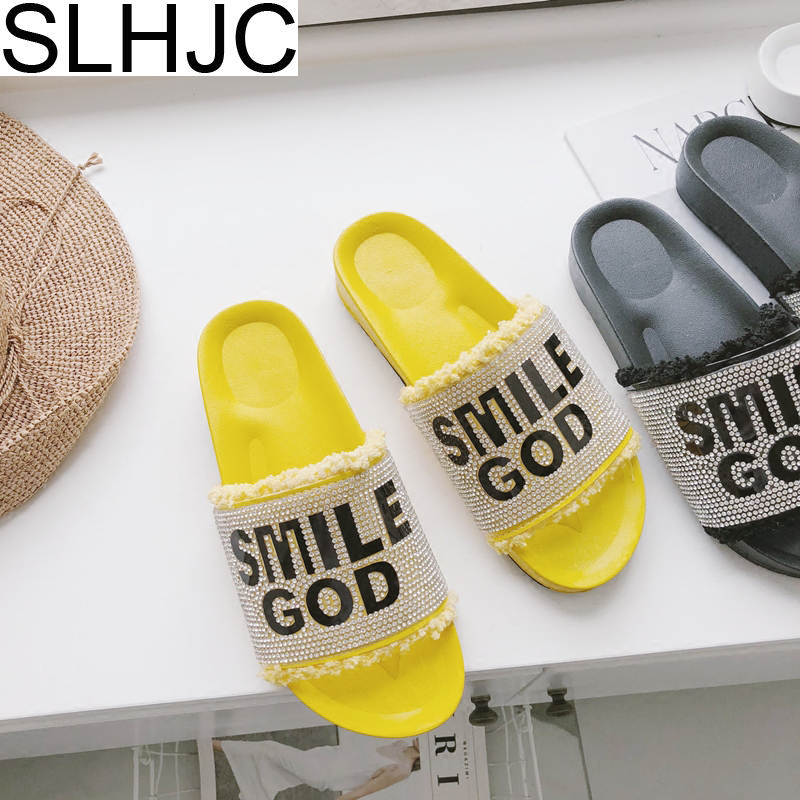 SLHJC Crystal Slippers Summer Flat Platform Elevator Slides Ope Toe Slip Resistance Full Rhinestone Women Sandals Beach Shoes