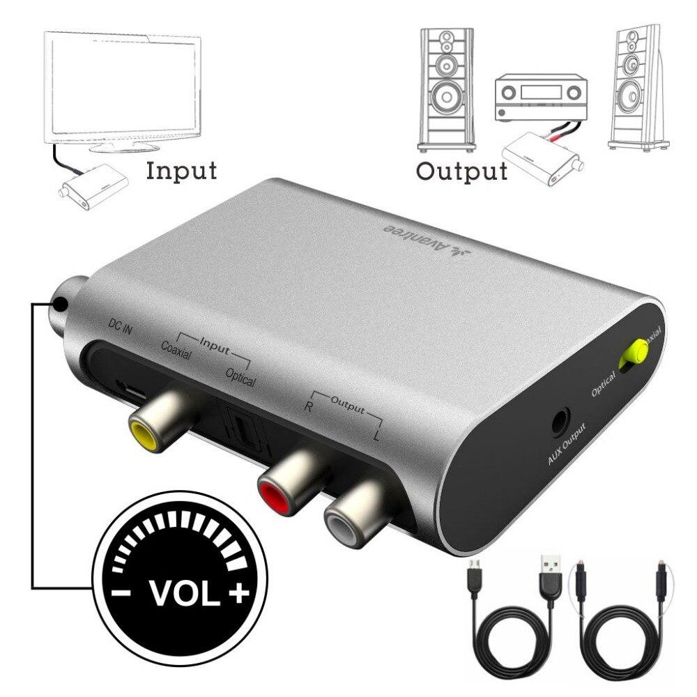 Avantree DAC Numérique à Analogique Audio Converter Box Adaptateur avec Toslink Optique Câble, Contrôle du volume, TV SPDIF Optique/Coaxia