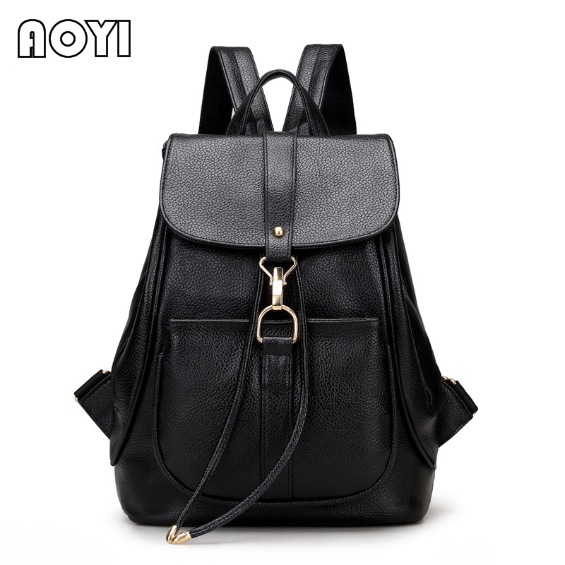 AOYI  Fashion Women Bag School Lady Backpack PU Leather Bags Student Shoulder Bag Casual Female Backpacks Softback Bags Sac