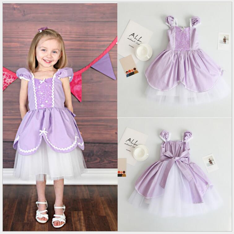 Sofia Princess Dress Kids Cosplay Costumes Girls New Arrival: 2018 New Anna Elsa Dress Kids Girls Sofia Princess Party