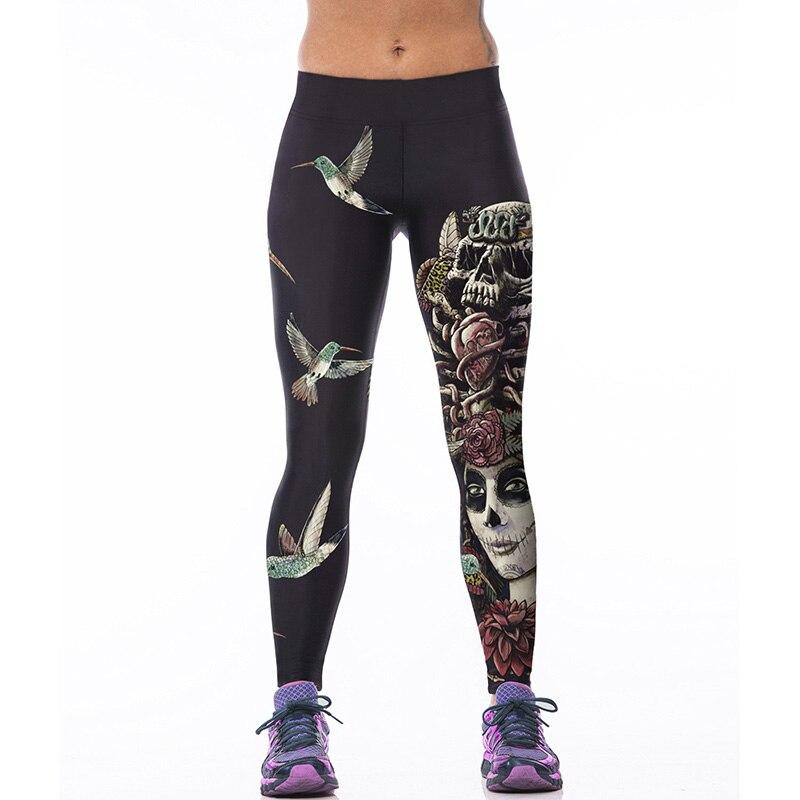 Sporting Stretch Leggings Fashion Bird Skull Print Fitness Soft Leggings Women Comfortable Pants Trousers Leggin for Female