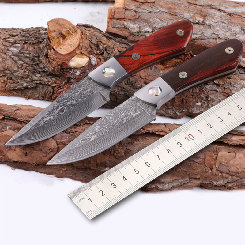 Free shipping Damascus steel knife integrated kitchen chopper outdoor camping straight knife with wooden handle new browning damascus steel knife outdoor mini damascus pocket knife