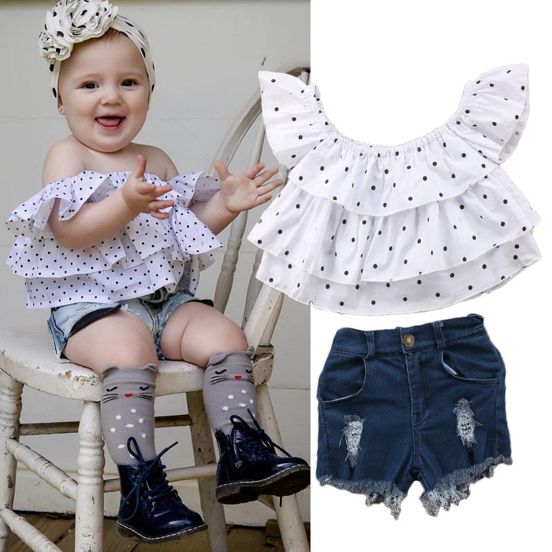 Fashion Toddler Kids Baby Girl Clothing Off Shoulder Dots Layered Tops Denim Shorts Pant 2PCS Set Summer Outfits Clothes 1-7T