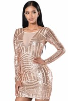 2016 New Style Summer Dress Women O Neck Long Sleeve Paillette Sequins Backless Bodycon Slim Pencil