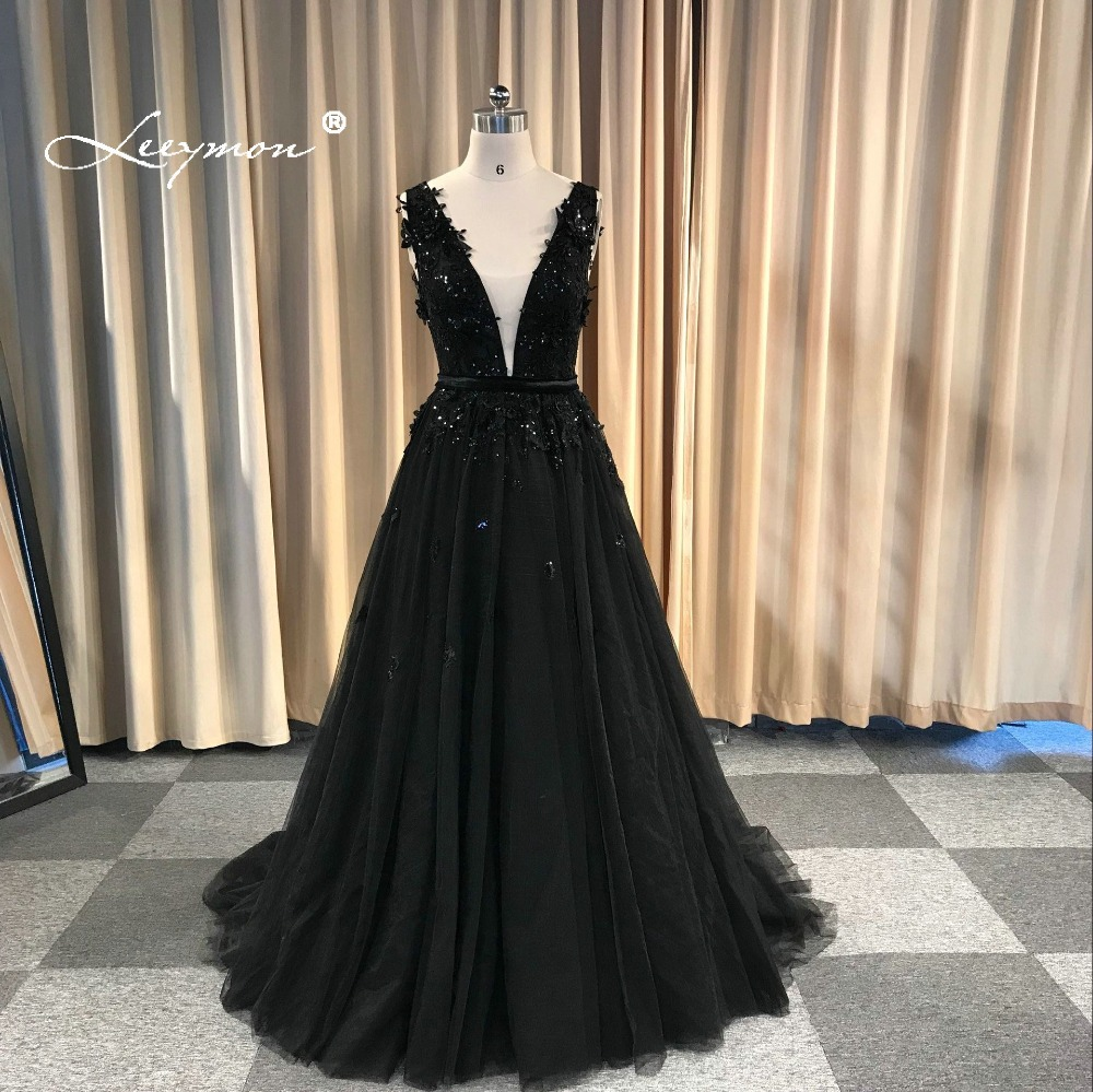 Leeymon Custom Made 2019 Sexy Backless Beading Appliques Party Dress Floor-Length Prom Dress Black