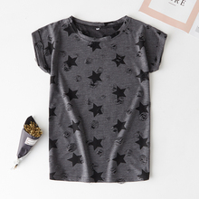 a1bbac190170 2019 new casual short-sleeved shirt shabby printed five-pointed star fruit cartoon  women's
