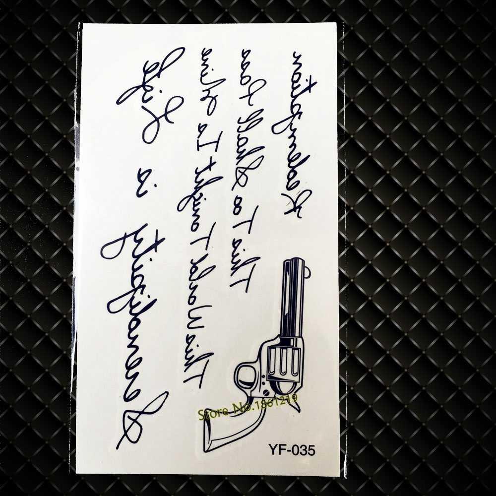 Wegwerp Waterdichte Tijdelijke Tattoo Decals GYF-035 Wordart Letters Gun Ontwerp Sexy Vrouwen Body Art Arm Borst Schouder Tattoos