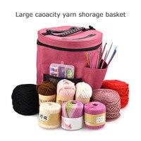 Filati di Storage Bag Organizer con Divisorio per Uncinetto Knitting & Organizzazione. Filati di Supporto portatile Tote per i Viaggi.