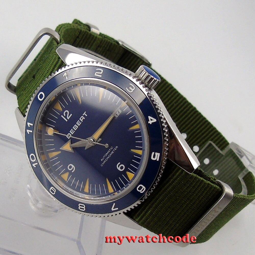 41mm debert blue dial ceramic bezel sapphire glass miyota Automatic mens Watch13 41mm debert black dial ceramic bezel sapphire glass miyota automatic mens watch