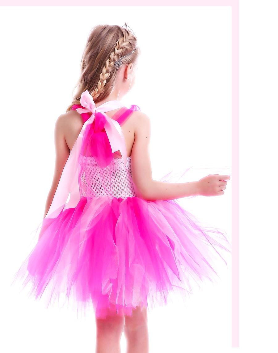 Girls Flamingo Princess Dress Pink Flower Tulle Clothes Kids Birthday Party Dresses 2018 Brand Animal Costume Flamingo Vestidos (7)