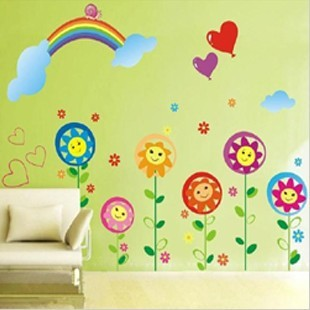 Sunshine Rainbow Wall Stickers Multicolored Flowers Wall Art For Kids Room  Pvc Diy Kawaii Wall Paper Home Decor Cute Drawing Art