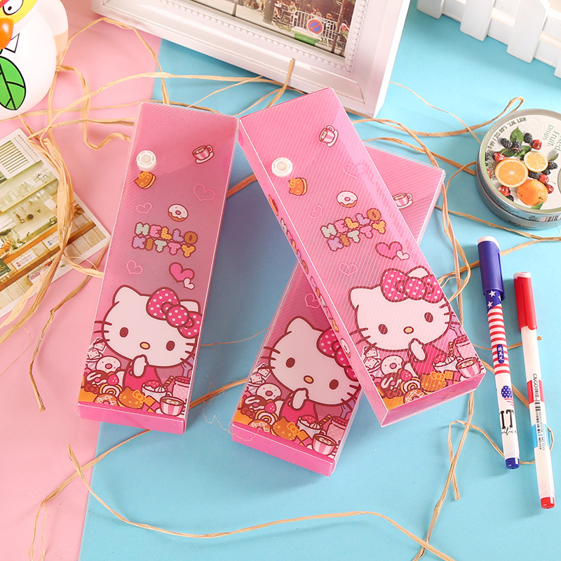 JOUDOO Kawaii Hello Kitty Pink Pen Storage Case Plastic Waterproof Large Capacity Pencil Bag Pouch Stationery School Supplies