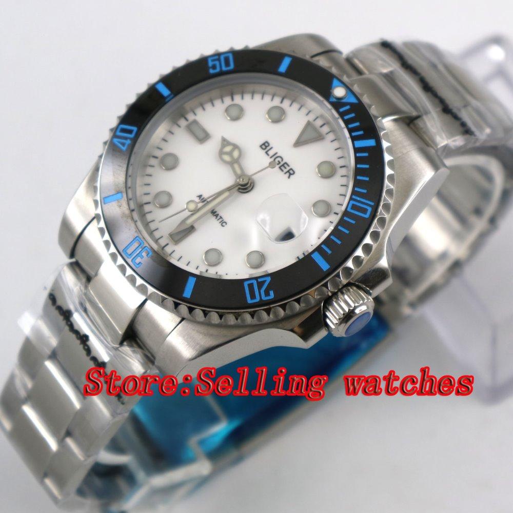 Bliger 40mm white dial luminous saphire glass black Ceramic Bezel Automatic movement men's watch men цена и фото