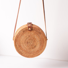 Beach Bags Women Rattan Vintage Art Hand-woven Bag PU Belt Messenger